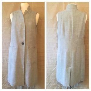 White House Black Market Jackets & Coats - White House Black Market Grey Long Line Vest  Sz 4